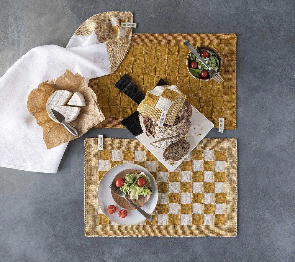 20102 knit factory placemat grote blok 2 kleuren ecru 2