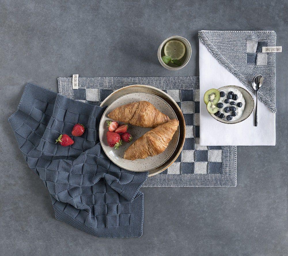 20102 knit factory placemat grote blok 2 kleuren ecru 3