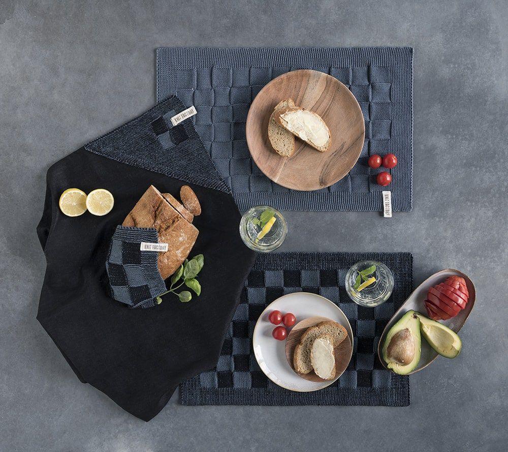 20102 knit factory placemat grote blok 2 kleuren zwart 2