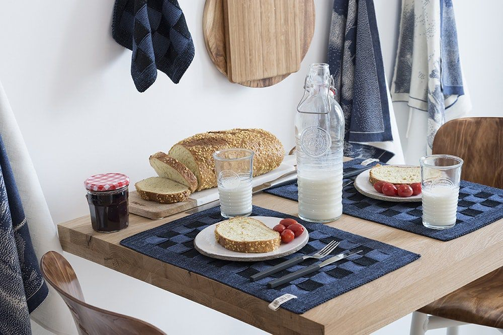 20102 knit factory placemat grote blok 2 kleuren zwart 6