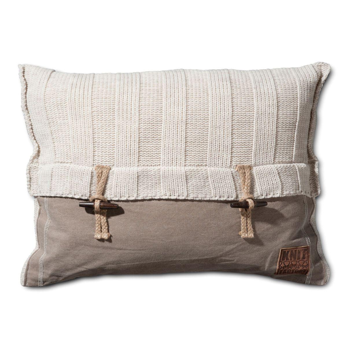 6x6 rib cushion beige 60x40