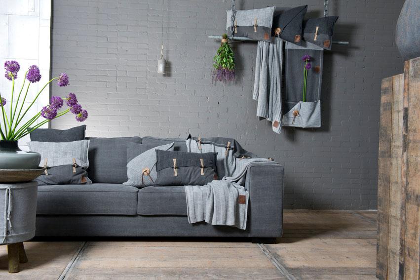 6x6 rib cushion light grey 60x40