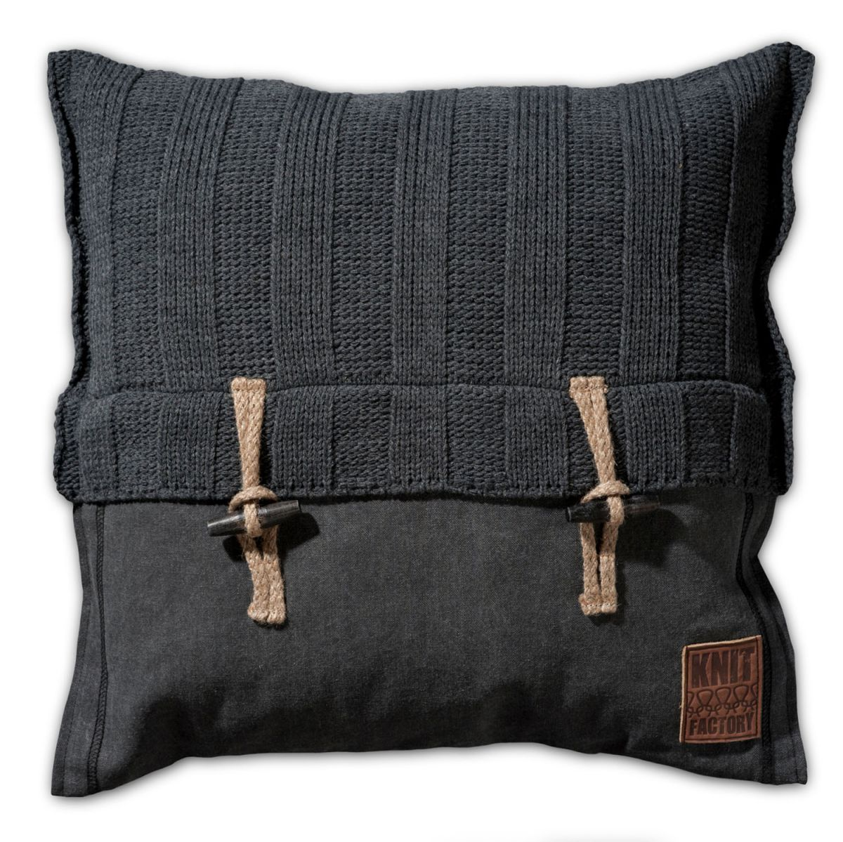 knit factory 1121210 kussen 50x50 6x6 rib antraciet 1