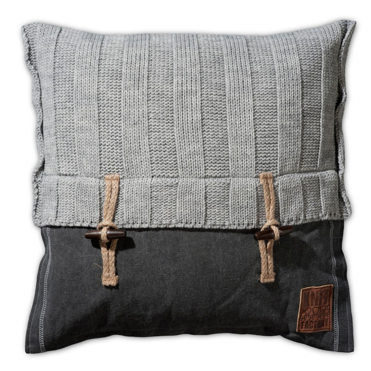 knit factory 1121211 kussen 50x50 6x6 rib licht grijs 1