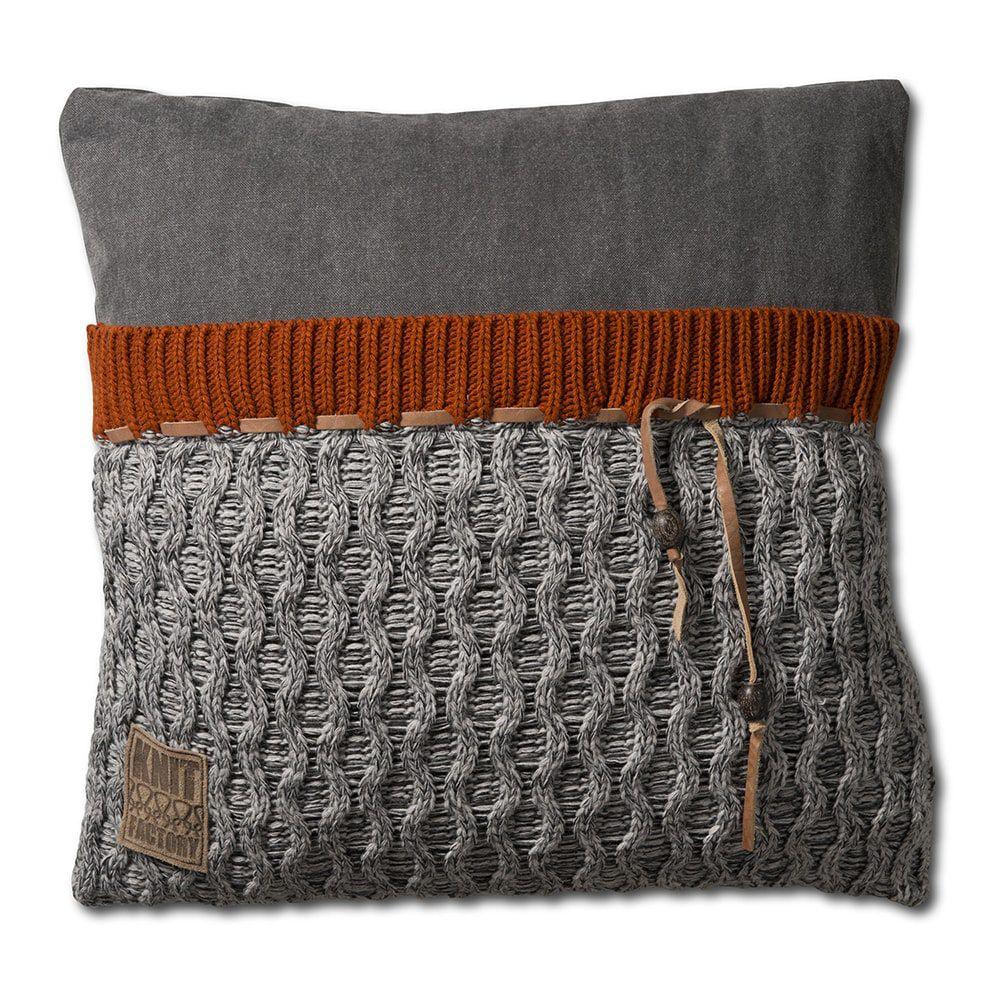 knit factory 1021201 kussen 50x50 joep licht grijs melee