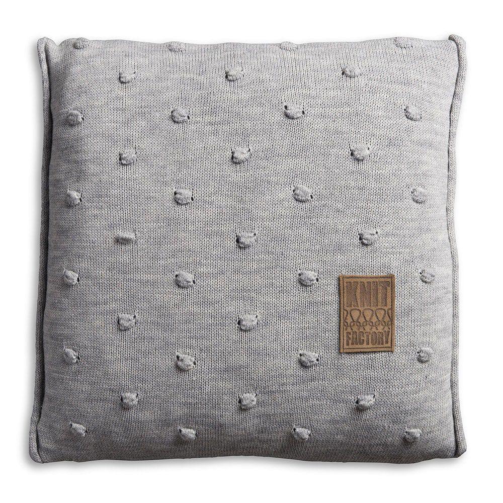 knit factory 1071211 kussen 50x50 noa licht grijs 1