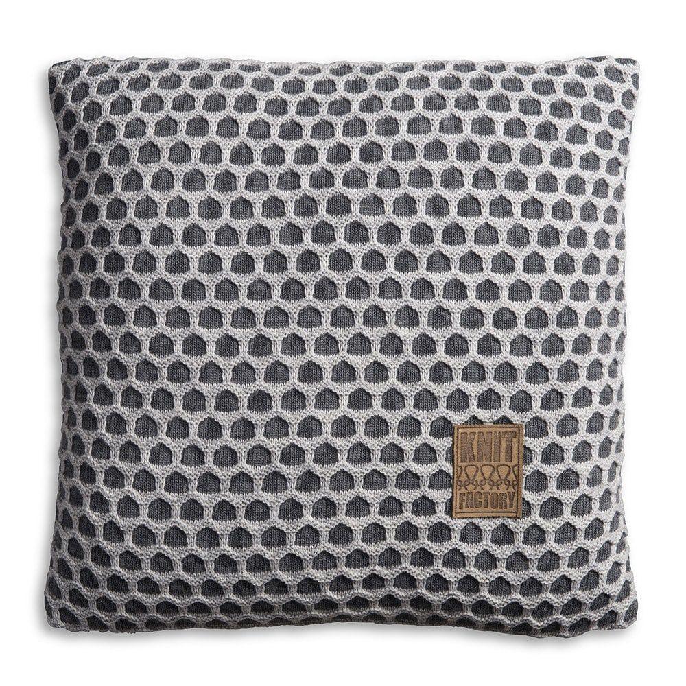 knit factory 1081250 kussen 50x50 mila antraciet licht grijs 1