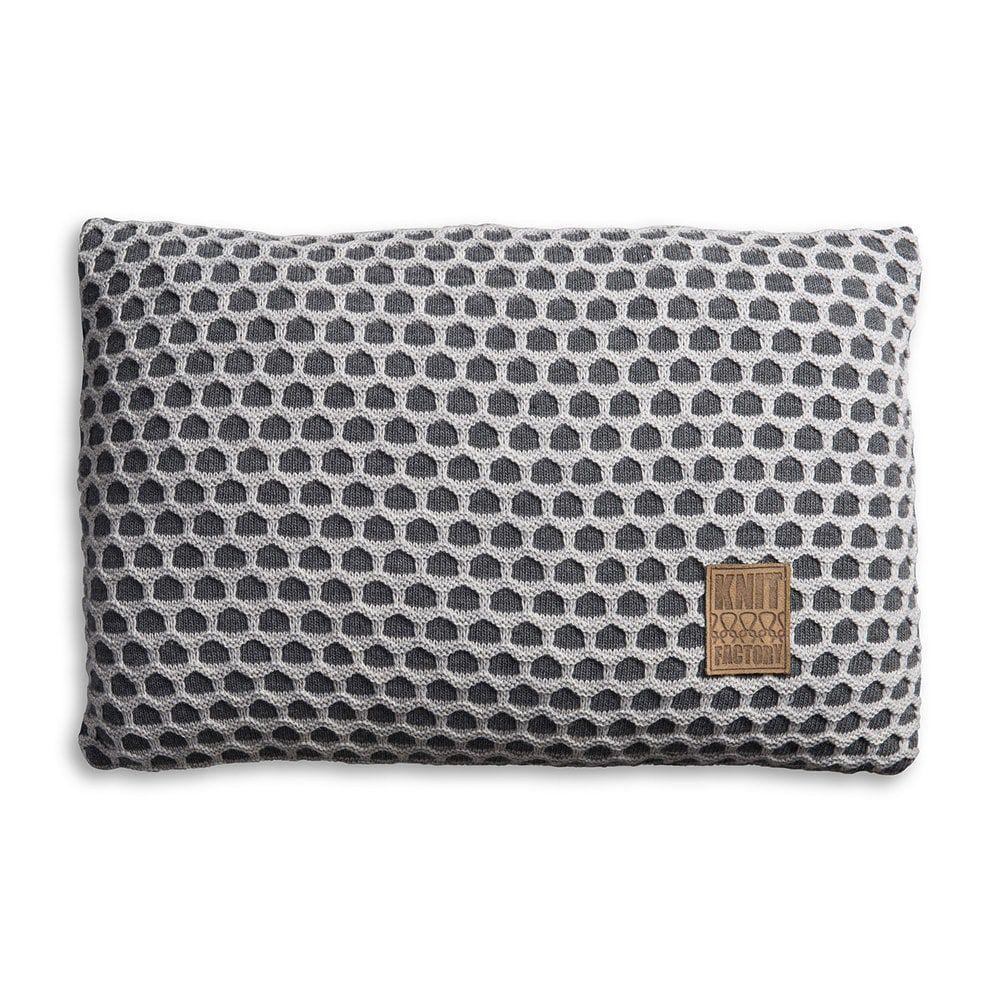 knit factory 1081350 kussen 60x40 mila antraciet licht grijs 1