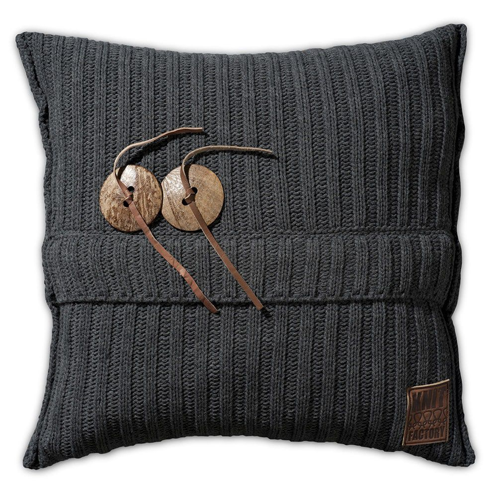 knit factory 1101210 kussen 50x50 aran antraciet 1