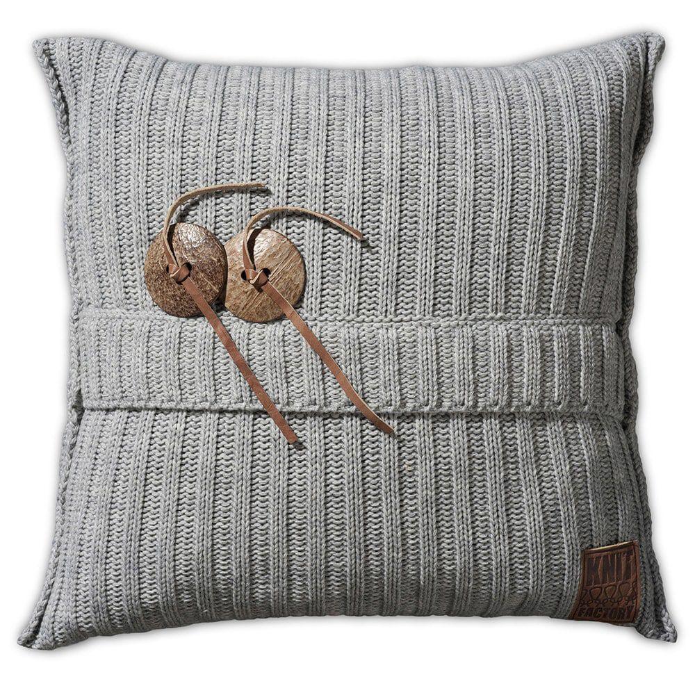 knit factory 1101211 kussen 50x50 aran licht grijs 1
