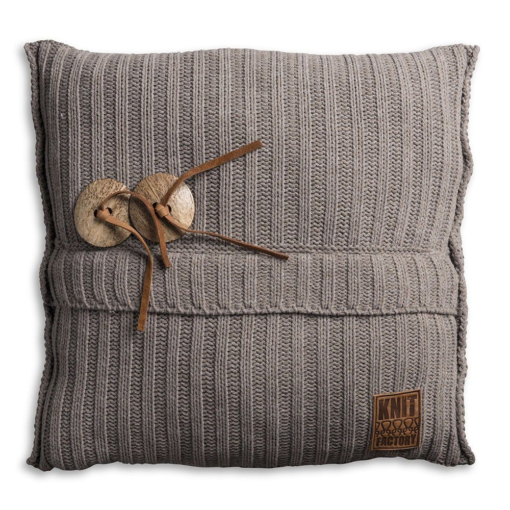 knit factory 1101229 kussen 50x50 taupe 1