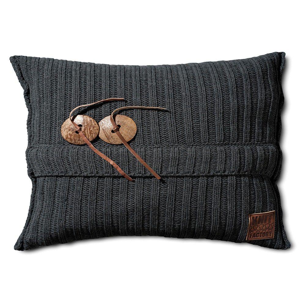 knit factory 1101310 kussen 60x40 aran antraciet 1