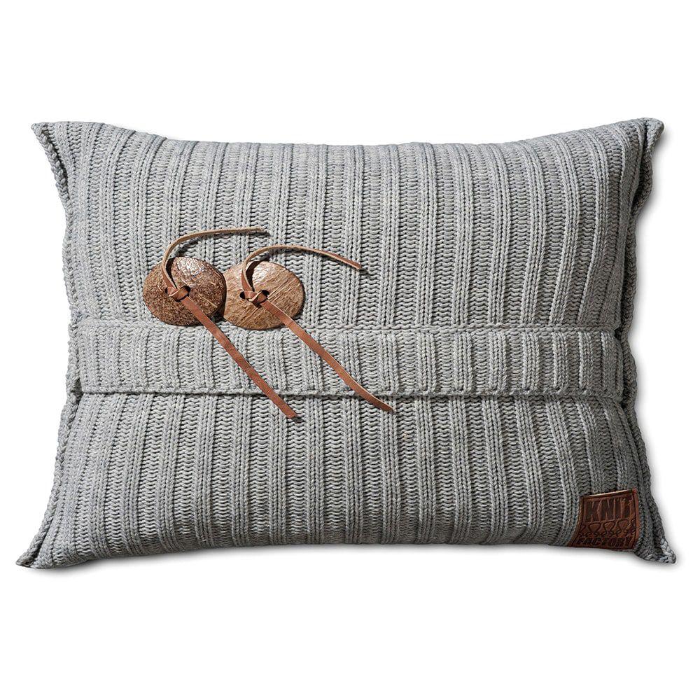 knit factory 1101311 kussen 60x40 aran licht grijs 1