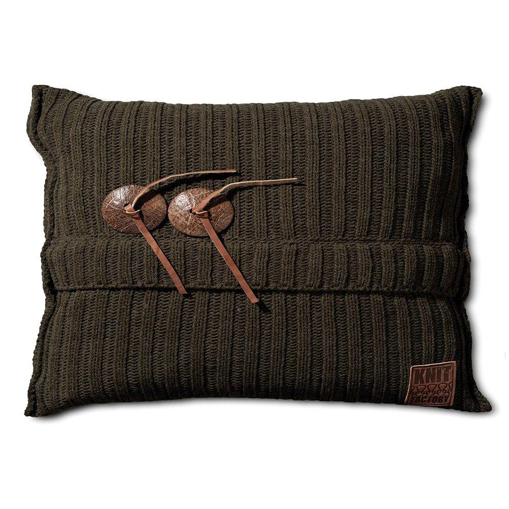 knit factory 1101314 kussen 60x40 aran groen 1