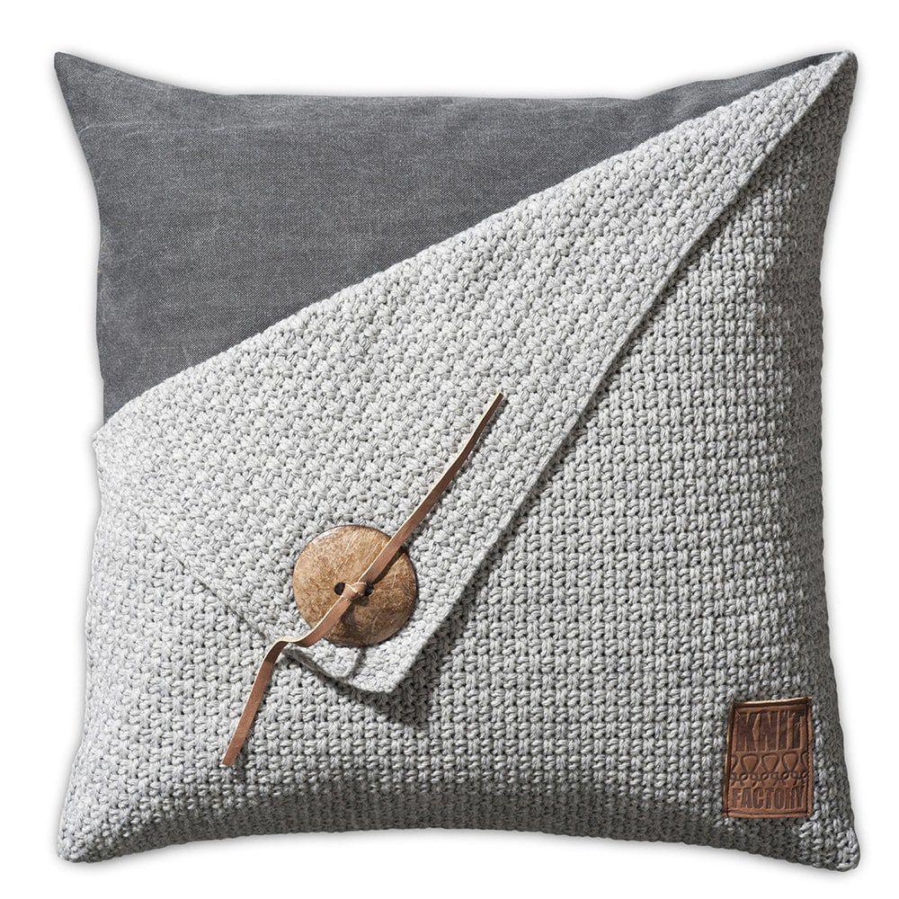 knit factory 1111211 kussen 50x50 barley licht grijs