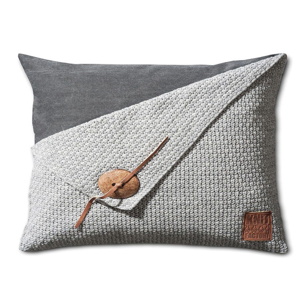 knit factory 1111311 kussen 60x40 barley licht grijs