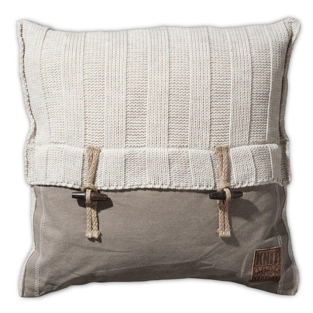 knit factory 1121212 kussen 50x50 6x6 rib beige 1