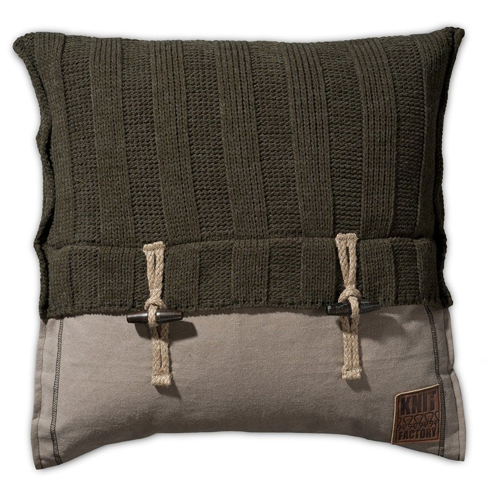 knit factory 1121214 kussen 50x50 6x6 rib groen 1