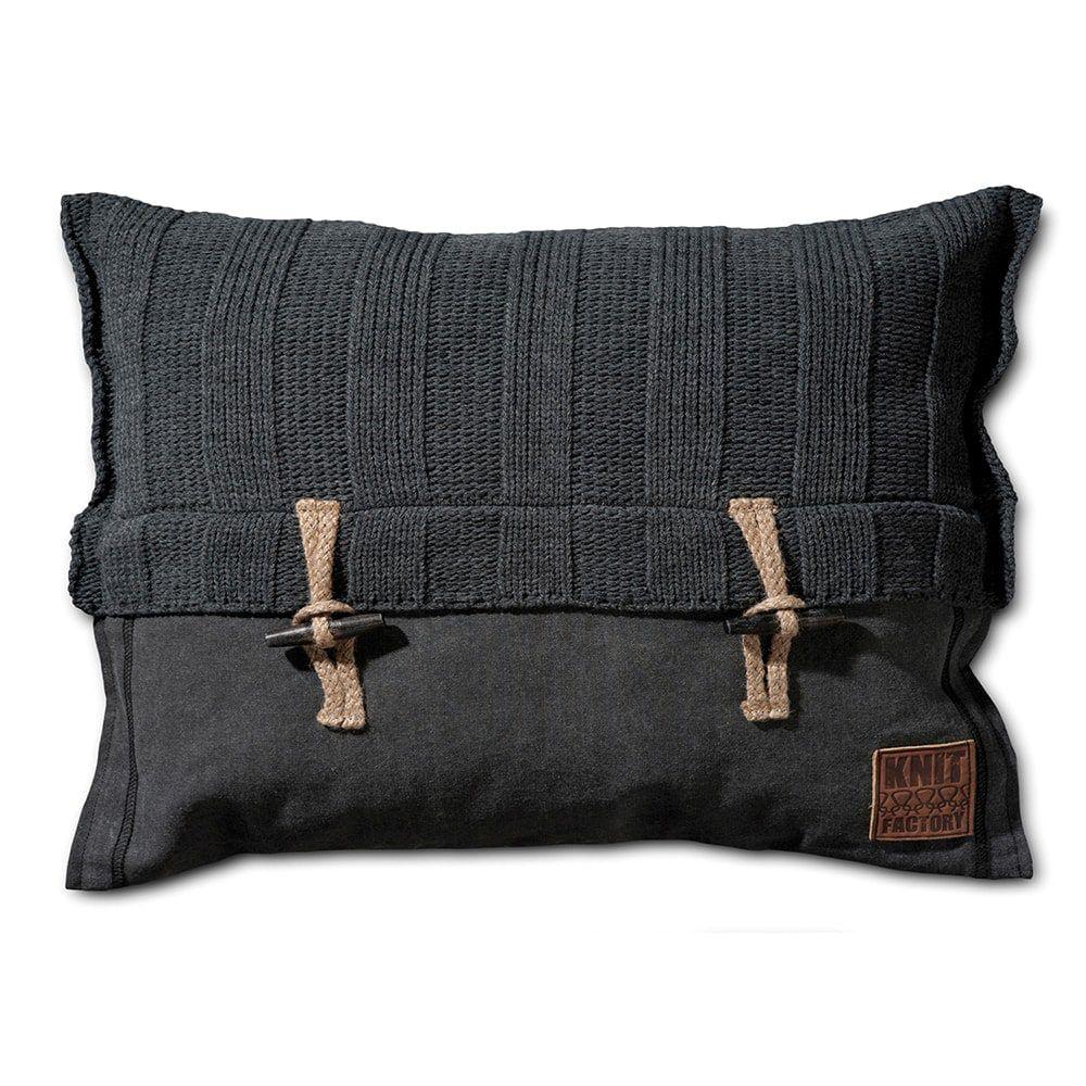 knit factory 1121310 kussen 60x40 6x6 rib antraciet 1