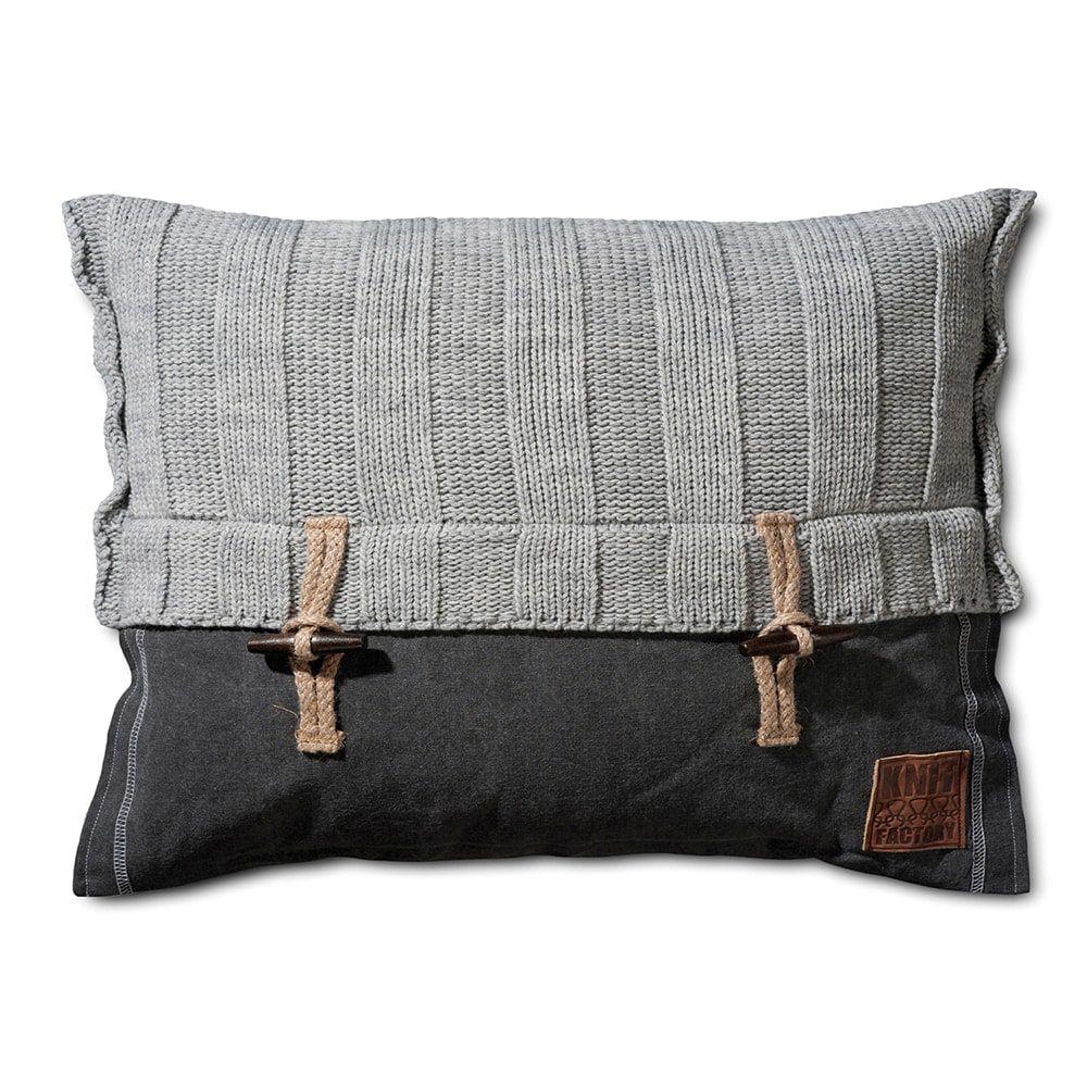 knit factory 1121311 kussen 60x40 6x6 rib licht grijs 1