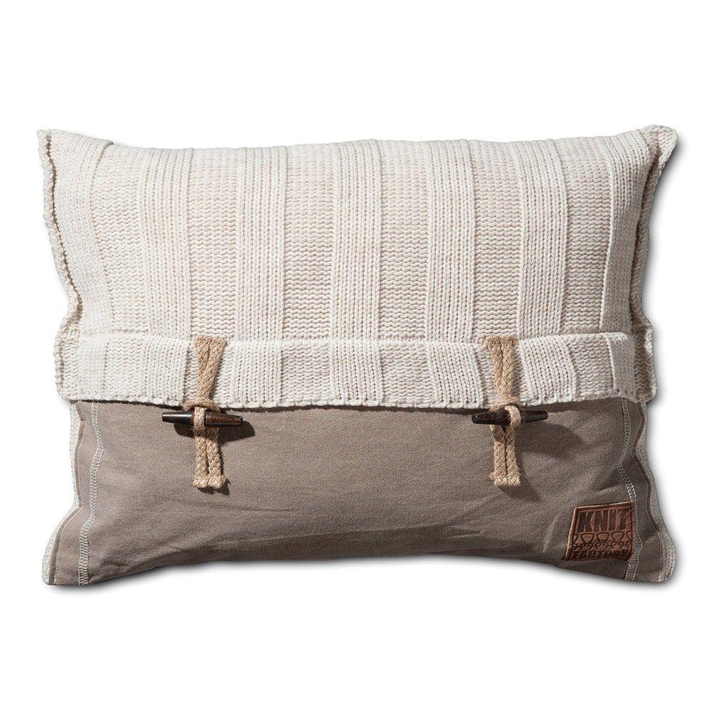 knit factory 1121312 kussen 60x40 6x6 rib beige 1