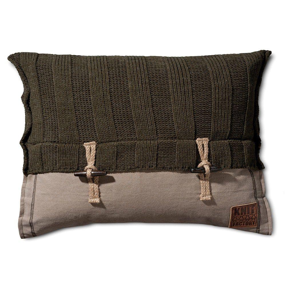 knit factory 1121314 kussen 60x40 6x6 rib groen 1
