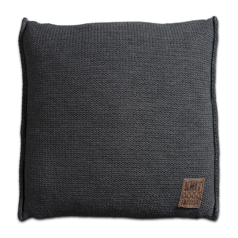 knit factory 1131210 kussen 50x50 uni antraciet 1