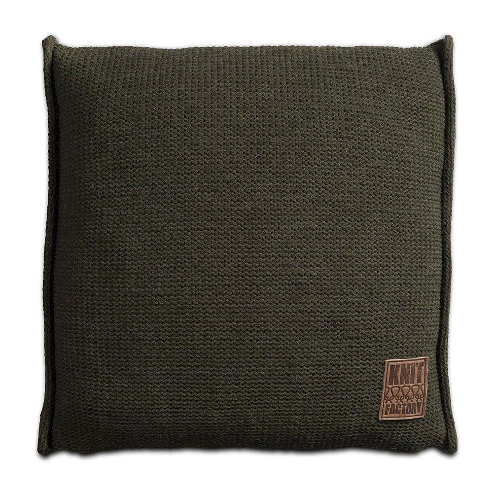knit factory 1131214 kussen 50x50 uni groen 1