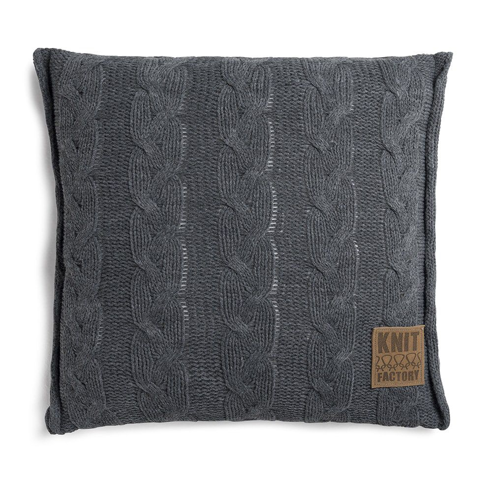 knit factory 1161210 kussen 50x50 sasha antraciet 1