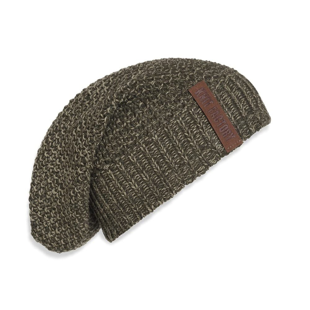 knit factory 1207044 coco beanie groen olive 1