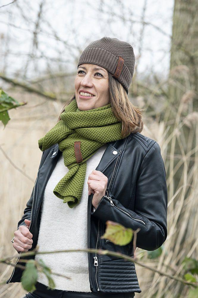 knit factory 1236515 jazz sjaal mosgroen 2