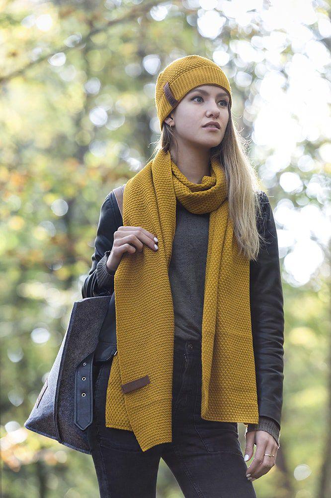 knit factory 1236517 jazz sjaal oker 4