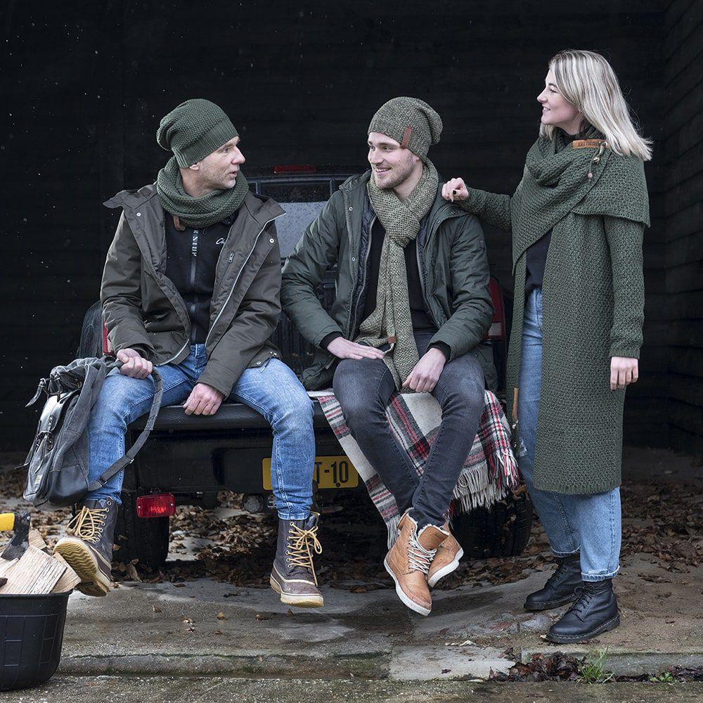 knit factory 1236544 jazz sjaal groen olive 2