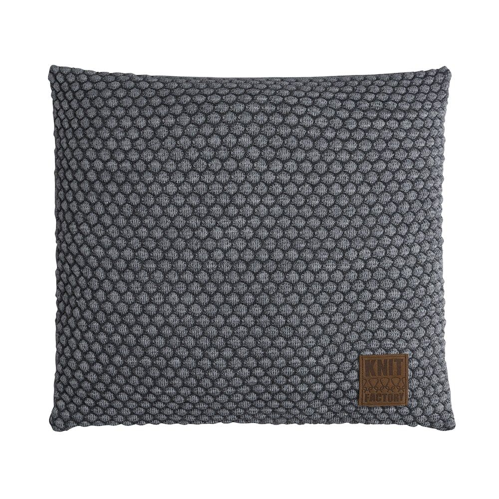 knit factory 1241250 kussen 50x50 juul antraciet licht grijs 1