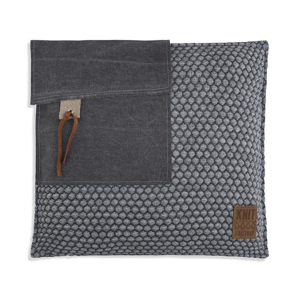 knit factory 1251250 kussen 50x50 jack antraciet licht grijs 1