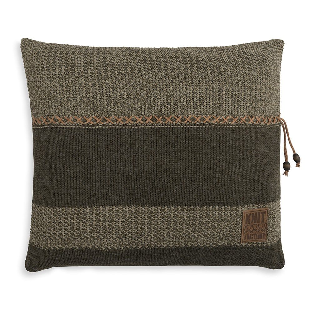 knit factory 1311244 roxx kussen 50x50 groen olive 1