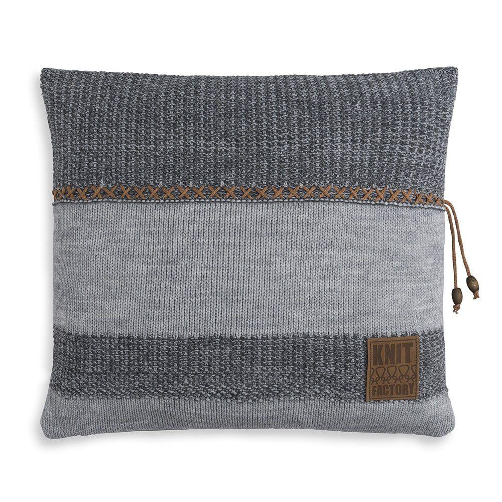 knit factory 1311251 roxx kussen 50x50 grijs antraciet 1