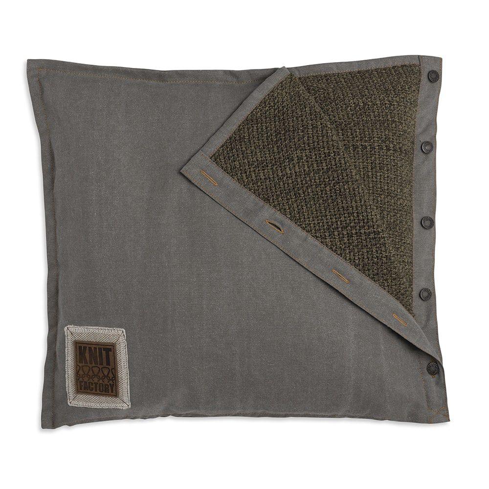 knit factory 1321244 rick kussen 50x50 groen olive 1