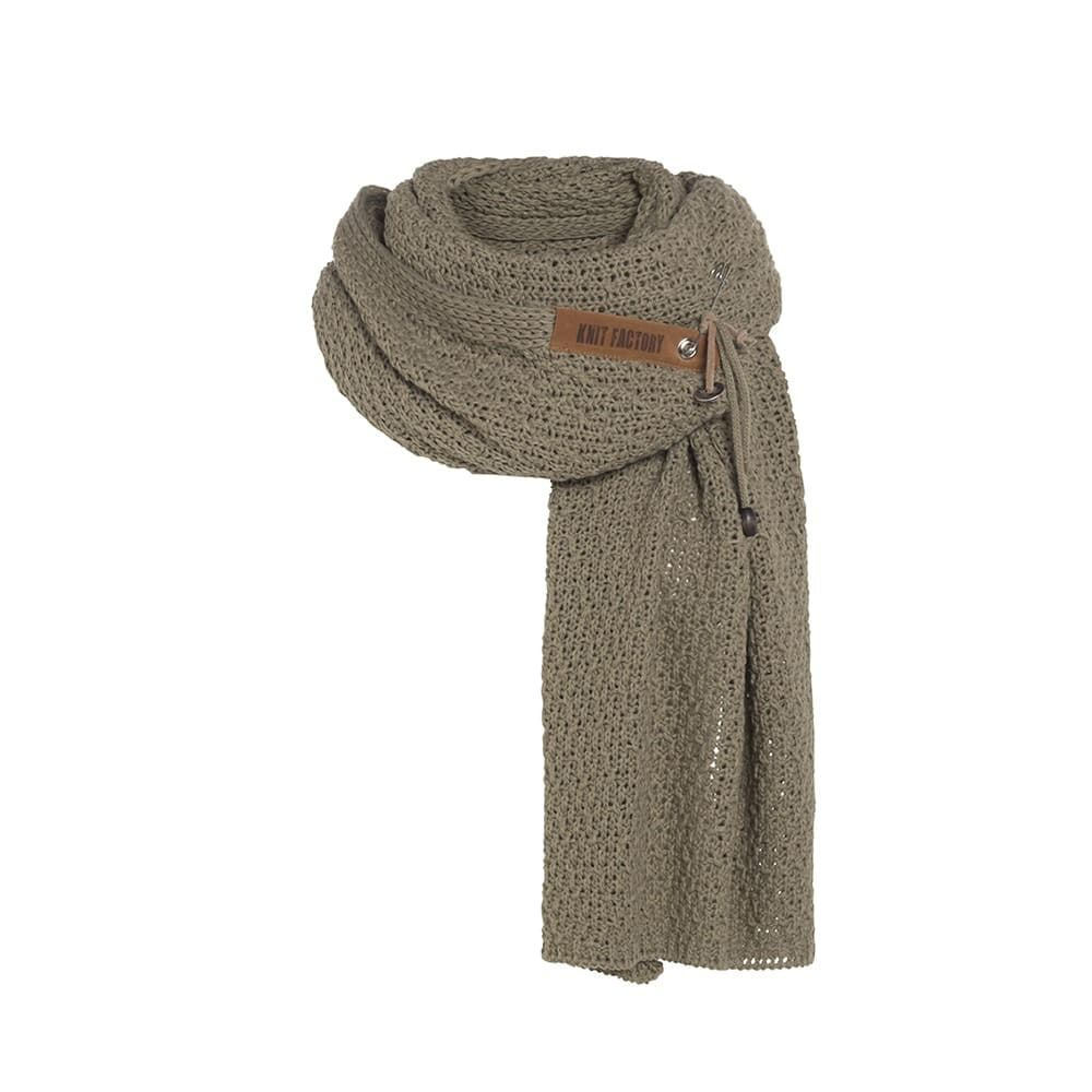 knit factory 1336533 luna sjaal olive 1