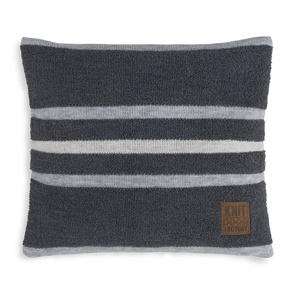 knit factory 1351250 yara kussen 50x50 antraciet licht grijs 1
