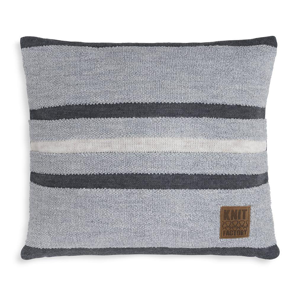 knit factory 1351251 yara kussen 50x50 licht grijs antraciet 1