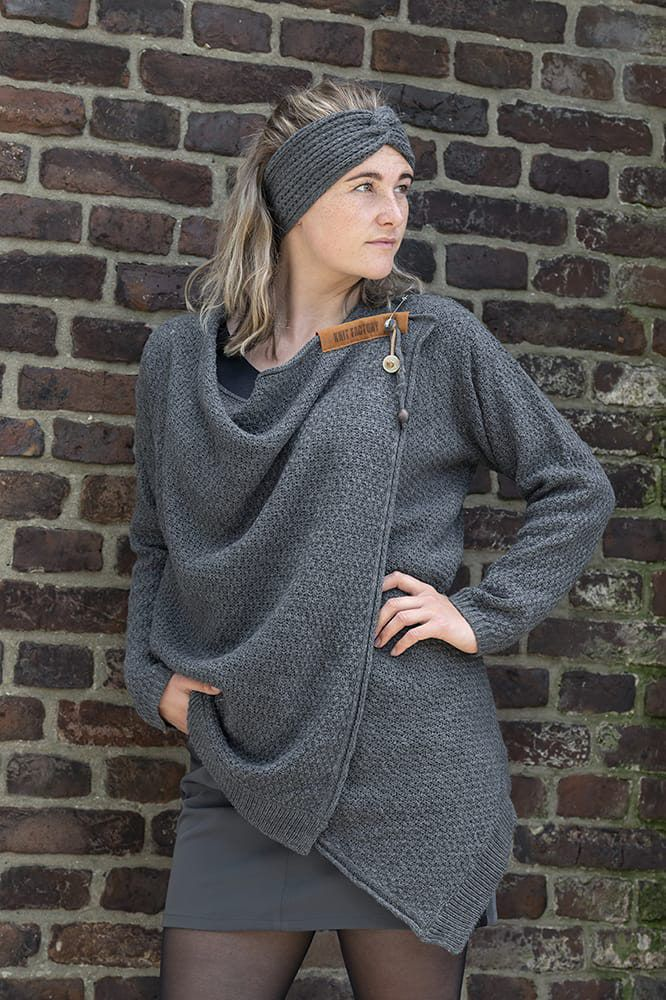 knit factory 1396210 emy vest 3638 antraciet 3