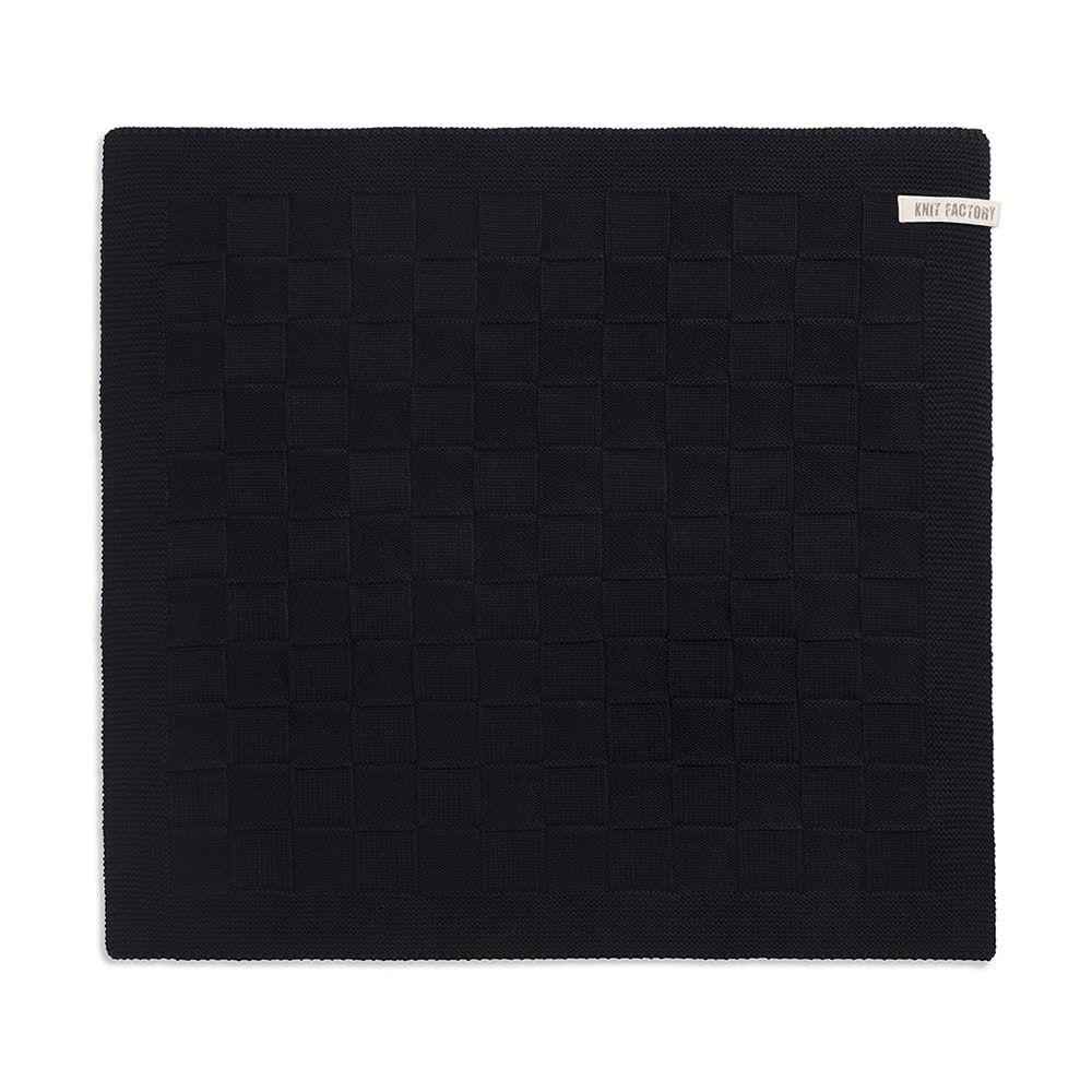 knit factory 2000000 keukendoek grote blok uni zwart