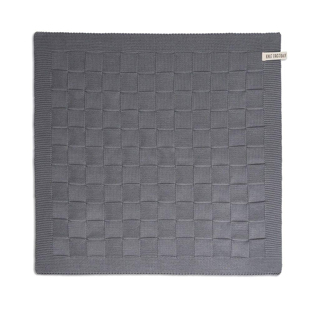 knit factory 2000006 keukendoek grote blok uni med grey