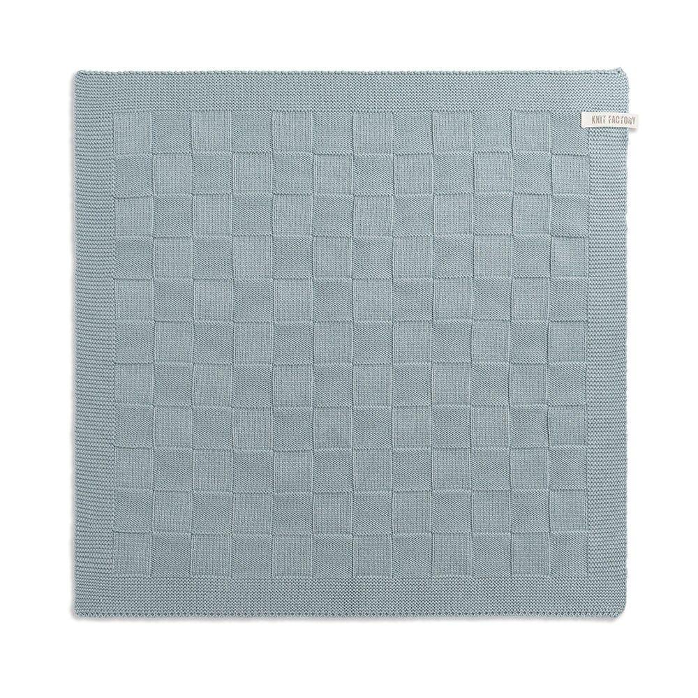 knit factory 2000009 keukendoek grote blok uni stone green