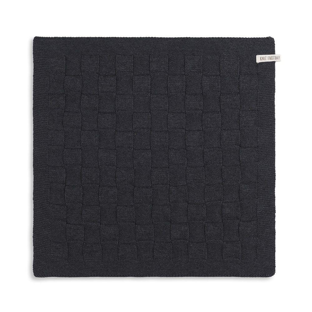 knit factory 2000010 keukendoek grote blok uni antraciet 1
