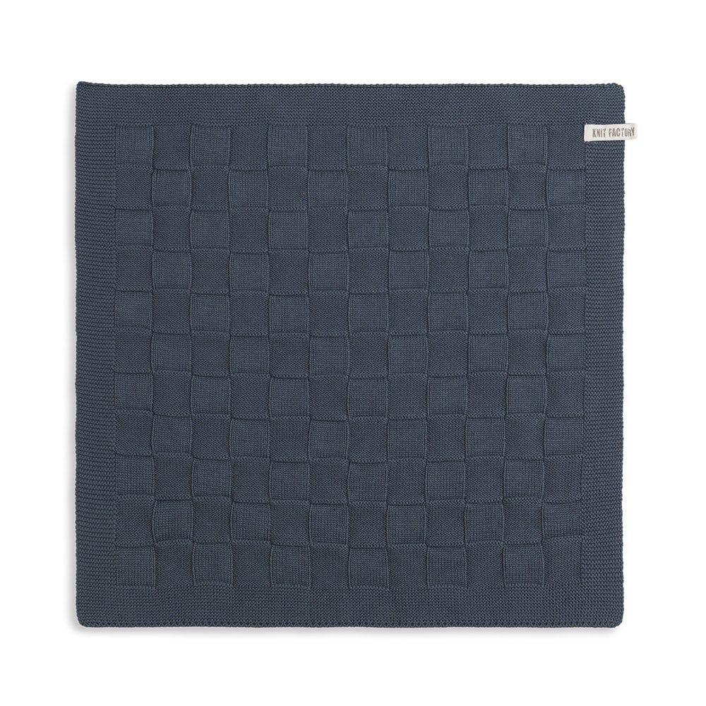 knit factory 2000018 keukendoek grote blok uni granit