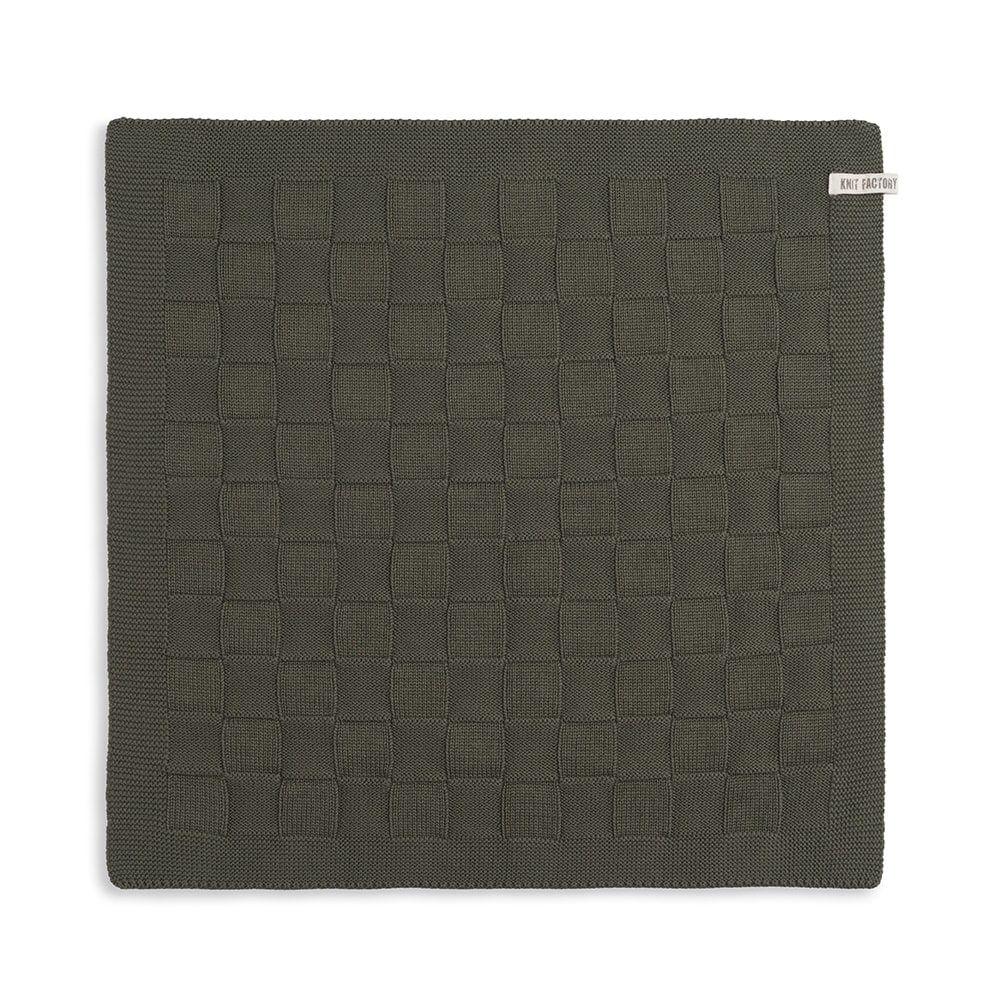 knit factory 2000025 keukendoek grote blok uni khaki