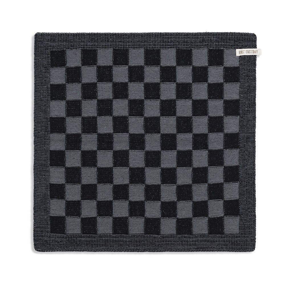knit factory 2010046 keukendoek grote blok 2 kleuren zwart med grey