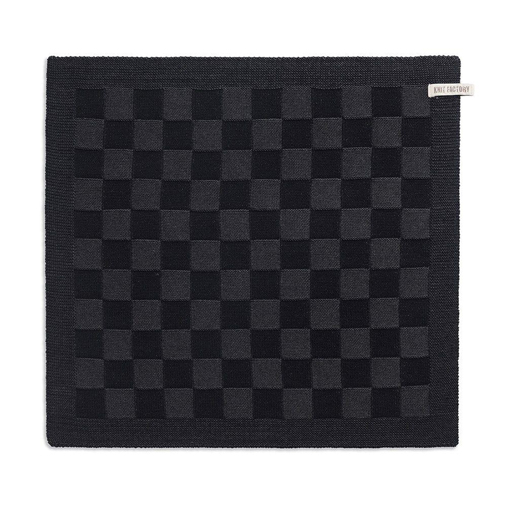 knit factory 2010060 keukendoek grote blok 2 kleuren zwart antraciet